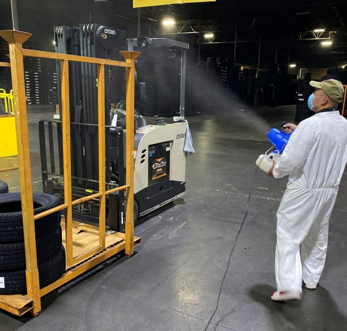 Air fogging, disinfecting cleaning